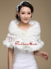 New Style Faux Fur White Wraps for 2015 ACCWRP044FOR