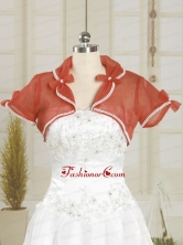 Open Front Organza Red Wedding Party Shawls with Beading JSA004-23FOR