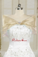 Organza Beading Champagne Fall Shawls for Wedding JSA001-13FOR