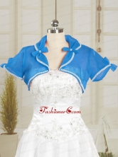 Simple Blue Organza Wedding Party Shawls with Beading JSA004-11FOR