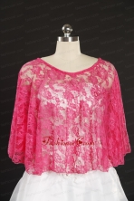 Simple Hot Pink Beading Lace Wraps for 2014 JSA005-1FOR