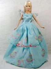 Beautiful Blue Princess Dress With Appliques Gown For Quinceanera Doll Babidf342for