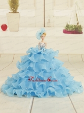 2015 Aqua Blue Bowknot Quinceanera Doll Dress Quinceanera005for