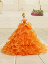 2015 Orange Organza Bowknot Quinceanera Doll Dress Quinceanera002for