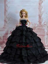 Amazing Black Dress With Sequins Made To Fit The Quinceanera Doll Babidf223for