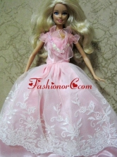 Amazing Pink Handmade Party Colothes Dress With Embroidery For Quinceanera Doll Babidf139for