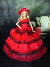 Amazing Red Dress With Lace Made To Fit The Quinceanera Doll Babidf403for