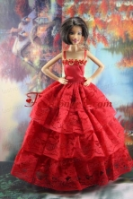 Amazing Red Lace Party Dress Made To Fit The Quinceanera Doll Babidf202for