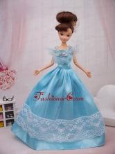 Aqua Blue Hand Made Flower Princess Quinceanera Doll Dress Babidf090for