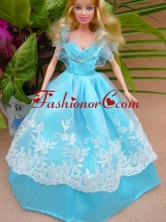 Baby Blue And Off The Shoulder Ball Gown For Quinceanera Doll Babidf047for