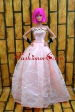 Baby Pink Gown For Quinceanera Doll With Lace And A-line Babidf211for