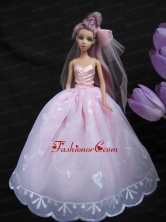 Baby Pink Sweetheart Ball Gown Lace And Ruch Wedding Dress For Quinceanera Doll Babidf248for