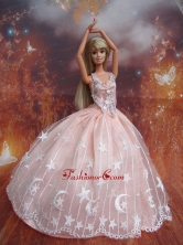 Ball Gown Lace And Appliques Baby Pink Handmade Dresses Fashion Party Clothes Gown Skirt For Quinceanera Doll Babidf241for