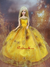 Beading Decorate Ball Gown Gold Quinceanera Doll Dress Babidf114for