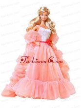 Beading Watermelon Red Organza Princess Quinceanera Doll Dress Babidf017for