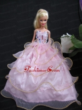 Beautiful Ball Gown Pink Taffeta And Organza Gown For Quinceanera Doll Babidf104for