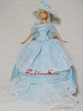 Beautiful Blue Gown With Embroidery Dress For Noble Quinceanera Doll Babidf338for