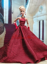 Beautiful Burgundy Satin Party Dress For Noble Quinceanera Doll Babidf307for