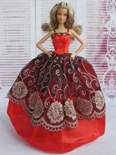 Beautiful Embroidery Ball Gown Red And Black Quinceanera Doll Dress Babidf118for