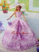 Beautiful Fuchsia Party Clothes Fashion Dress For Noble Quinceanera Doll Organza Babidf289for