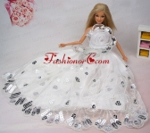 Beautiful Hand Made Flower Sequin Quinceanera Doll Dress Babidf377for