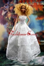 Beautiful Lace Over Skirt Wedding Quinceanera Doll Dress Babidf197for