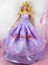 Beautiful Lilac Gown With Embroidery Made To Fit The Quinceanera Doll Babidf153for
