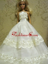 Beautiful Organza Embroidery White Quinceanera Doll Dress Babidf128for