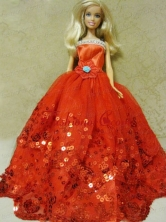 Beautiful Organza Red Ball Gown Quinceanera Doll Dress Babidf127for