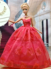 Beautiful Organza Red Party Clothes Fashion Dress For Noble Quinceanera Doll Babidf308for
