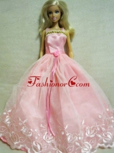 Beautiful Pink Dress With Embroidery Dress For Quinceanera Doll Babidf136for