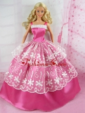 Beautiful Pink Gown With Embroidery For Quinceanera Doll Babidf163for