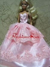 Beautiful Pink Handmade Dress With Lace Dress For Noble Quinceanera Babidf133for