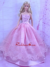 Beautiful Pink Princess Dress With Lace Made To Fit The Quinceanera Doll Babidf168for