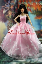 Beautiful Pink And Embroidery For Quinceanera Doll Dress Babidf185for