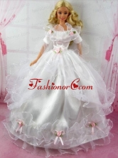 Beautiful Wedding Dress With Flower Gown For Quinceanera Doll Babidf322for