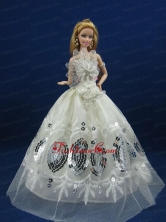 Beautiful White Dress With Sequins Made To Fit The Quinceanera Doll Babidf222for