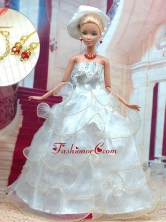 Beautiful White Wedding Dress For Noble Quinceanera Doll Babidf311for