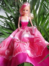 Beauty Party Dress To Quinceanera Doll With Hand Made Flowers And Embroidery Babidf406for