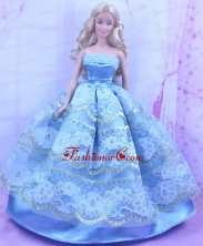 Blue Handmade Gown With Appliques And Sequins Made To Fit The Quinceanera Doll Babidf161for