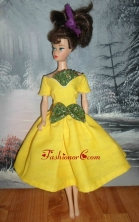 Bowknot Yellow Short Princess Party Clothes Quinceanera Doll Dress Babidf373for
