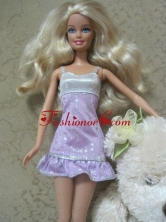 Cute Handmade Lilac Party Dress With Sequin Dress For Quinceanera Doll Babidf147for
