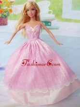 Cute Pink Party Clothes Taffeta For Noble Quinceanera Doll Babidf296for