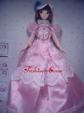 Cute Rose Pink Party Clothes Taffeta Beautiful Dress For Noble Quinceanera Doll Babidf287for