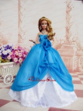 Elegant Ball Gown Blue Dress Made To Fit The Quinceanera Doll Babidf227for