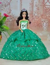 Elegant Ball Gown Green Strapless Hand Made Flowers Party Clothes Fashion Dress For Noble Quinceanera Babidf236for