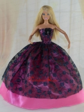 Elegant Ball Gown Party Clothes Lace Black And Hot Pink Quinceanera Doll Dress Babidf370for