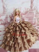 Elegant Ball Gown Ruffles Layers Brown Quinceanera Doll Dress Babidf108for
