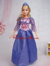 Elegant Blue Gown Sequin Made To Fit The Quinceanera Doll Babidf294for