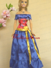 Elegant Blue Off The Shoulder Appliques Handmade Party Clothes Fashion Dress For Noble Quinceanera Babidf400for